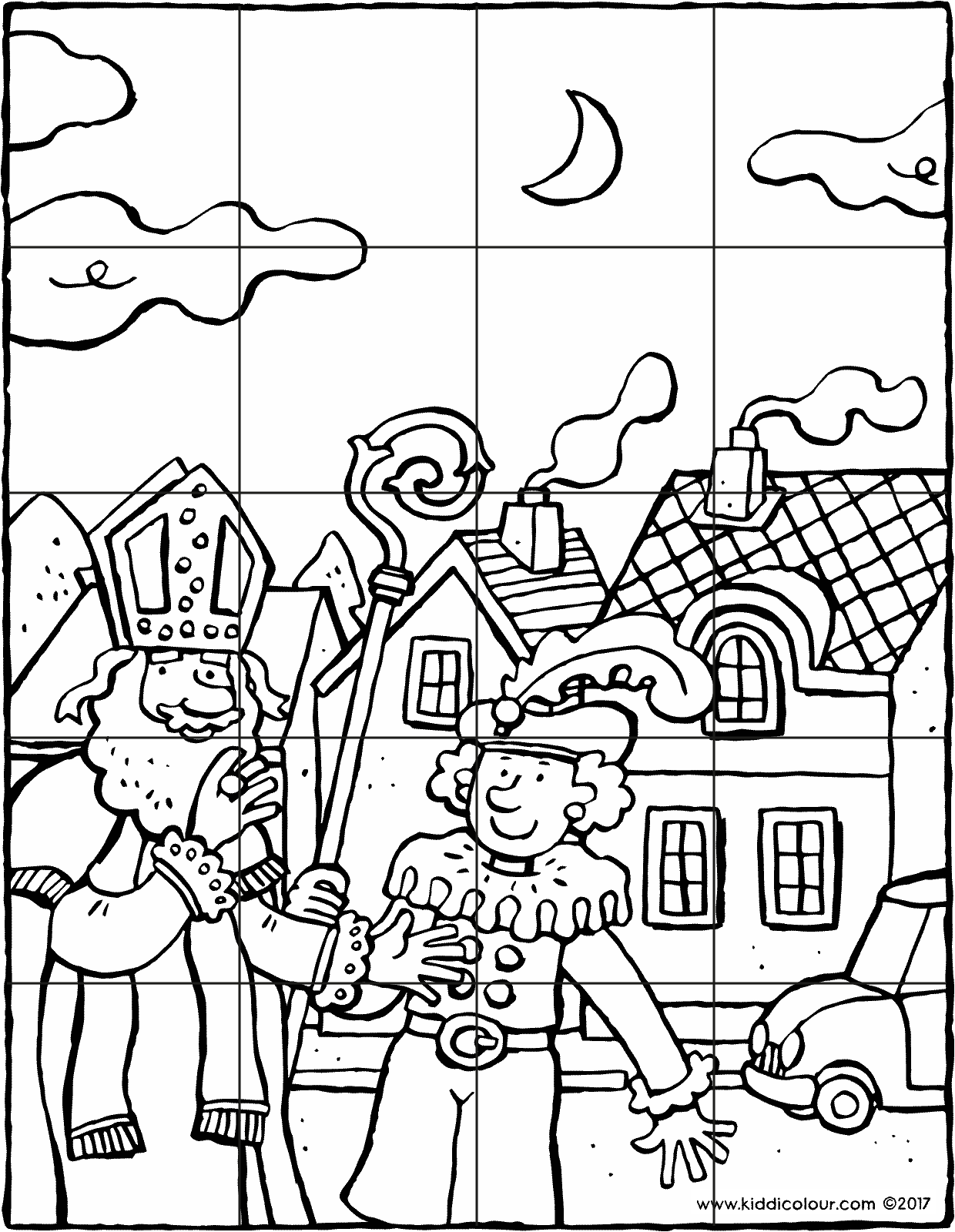 Saint Nicholas and Black Pete puzzle colouring page drawing picture 01V