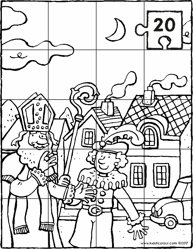 Saint Nicholas and Black Pete puzzle colouring page drawing picture 01k