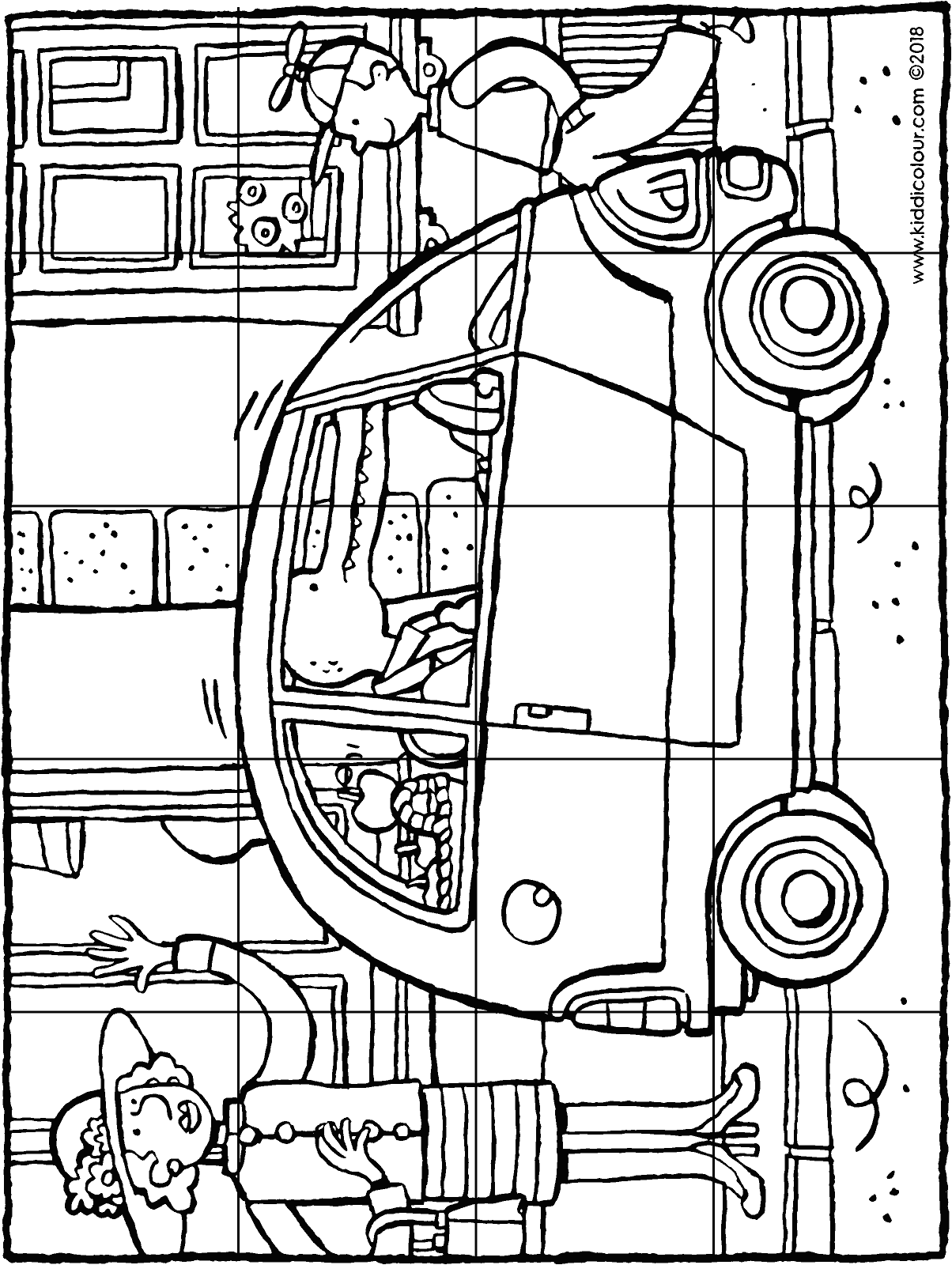 a small city car 20-piece puzzle colouring page drawing picture 01H