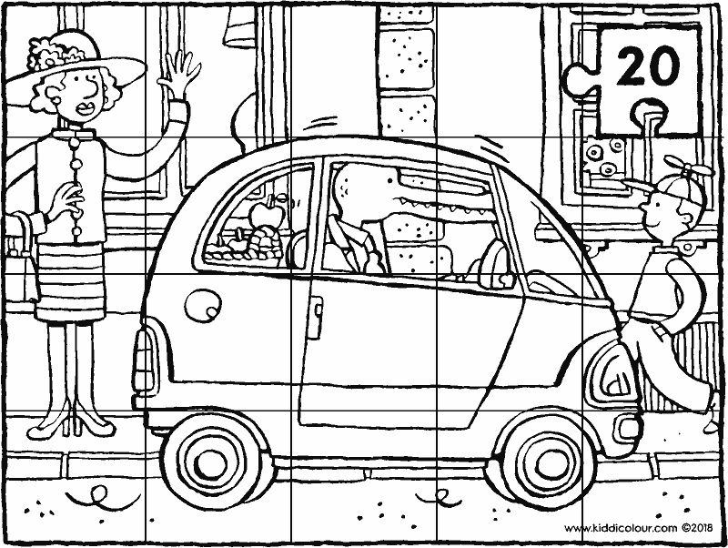 a small city car 20-piece puzzle colouring page drawing picture 01k