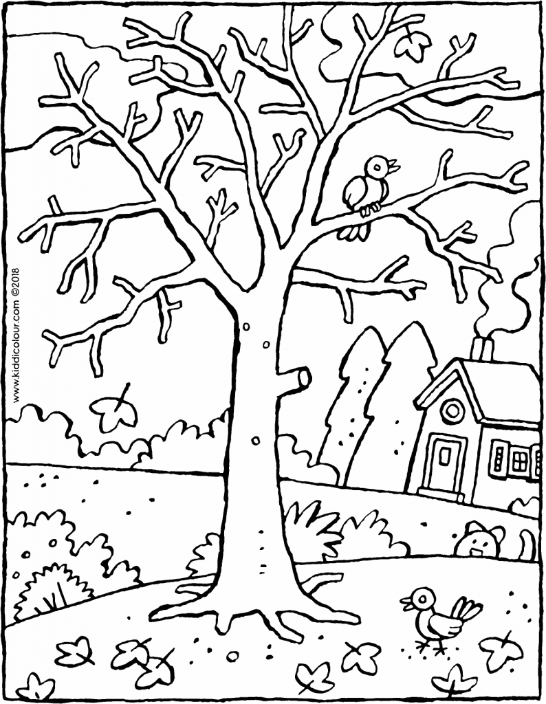 a tree in winter colouring page drawing picture 01V