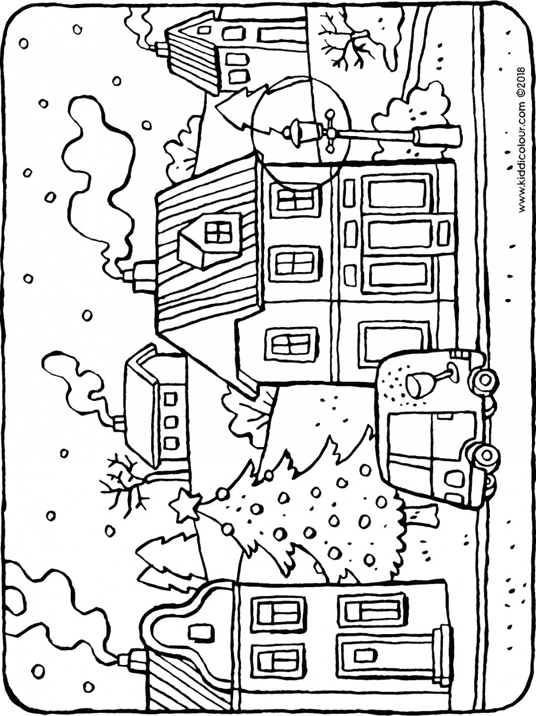a village in winter colouring page drawing picture 01H