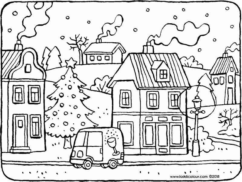 a village in winter colouring page drawing picture 01k