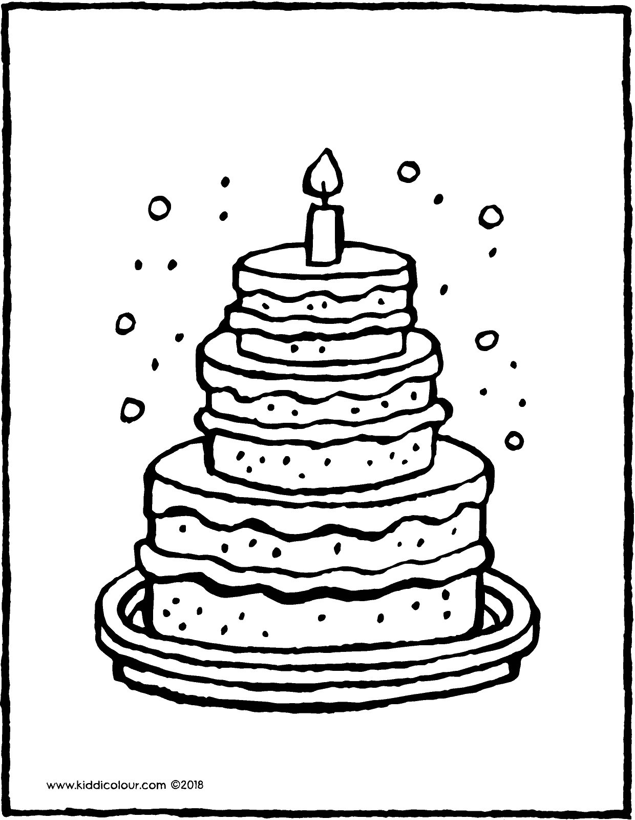 big cake with 1 candle colouring page drawing picture 01V