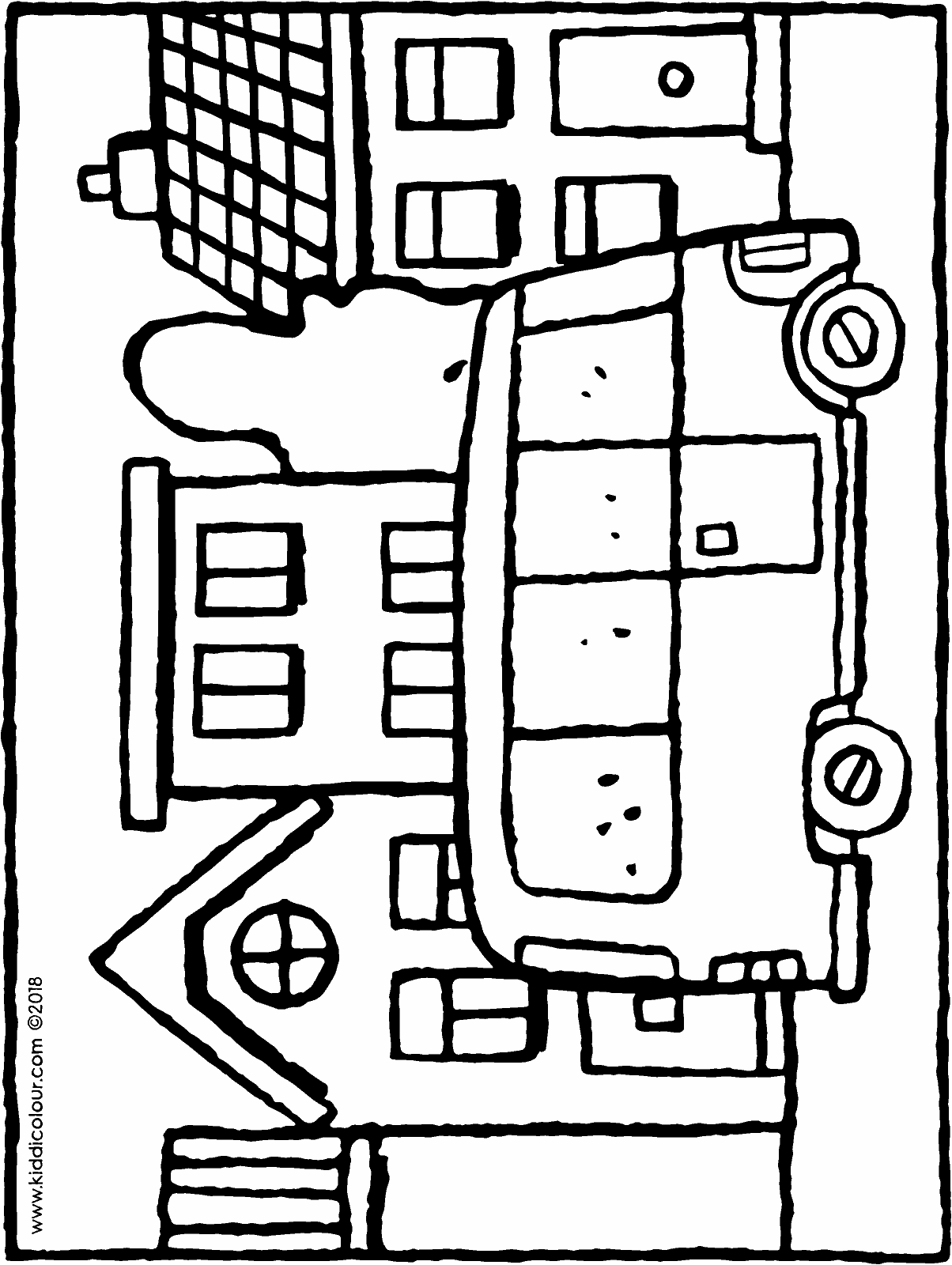 bus in the street colouring page drawing picture 01H