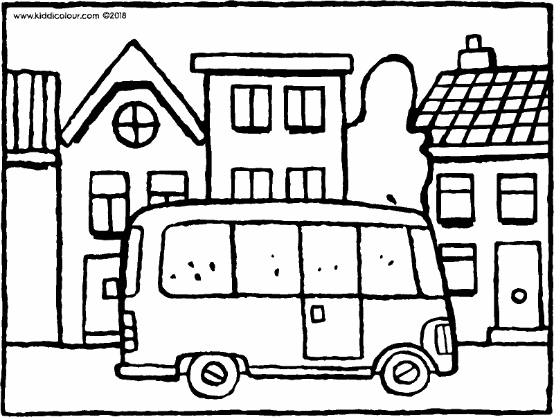 bus in the street colouring page drawing picture 01k
