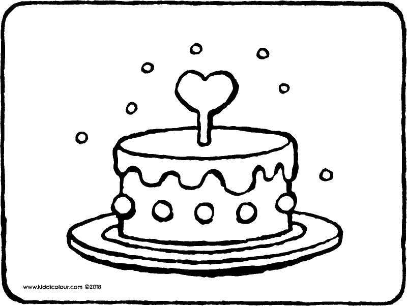 cake with a heart colouring page drawing picture 01k
