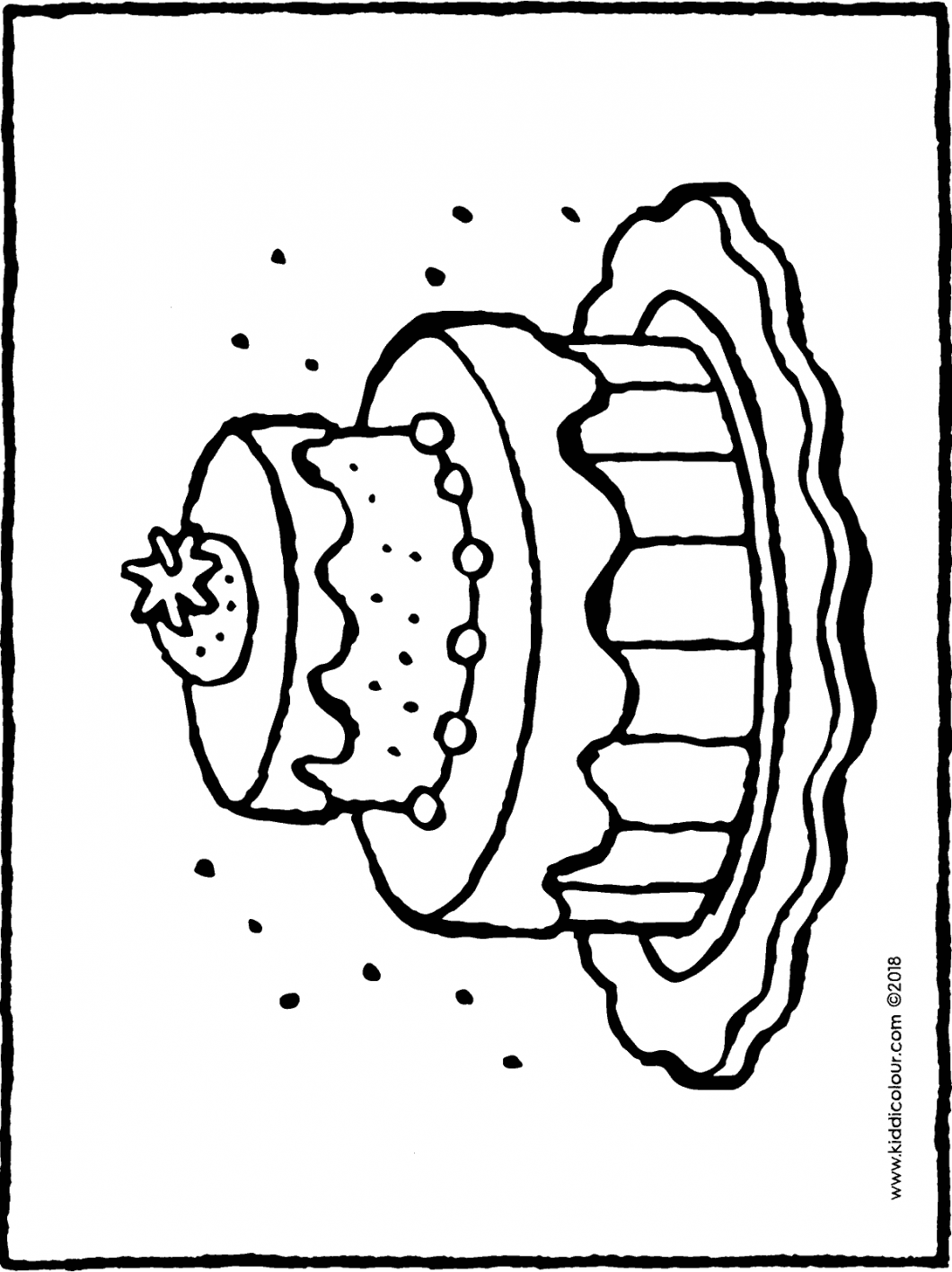 cake with strawberry colouring page drawing picture 01H