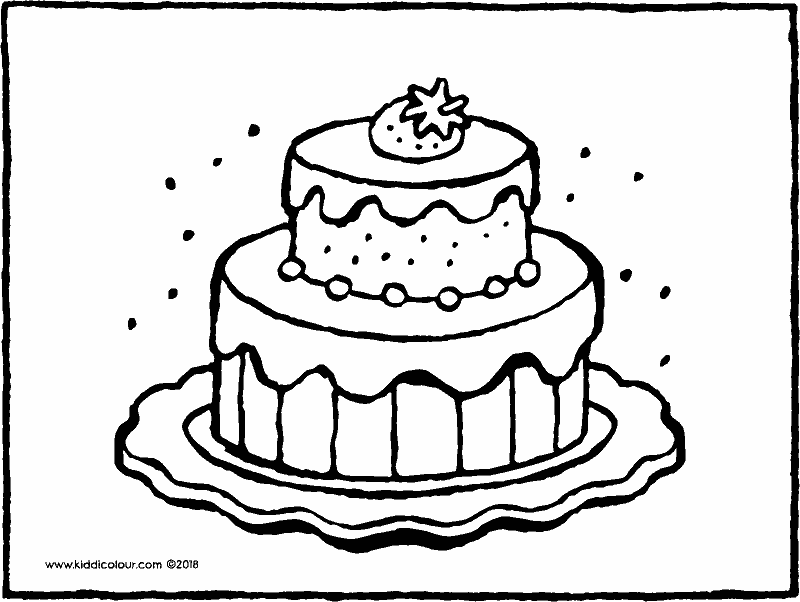 cake with strawberry colouring page drawing picture 01k