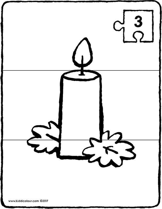 candle puzzle colouring page drawing picture 01k