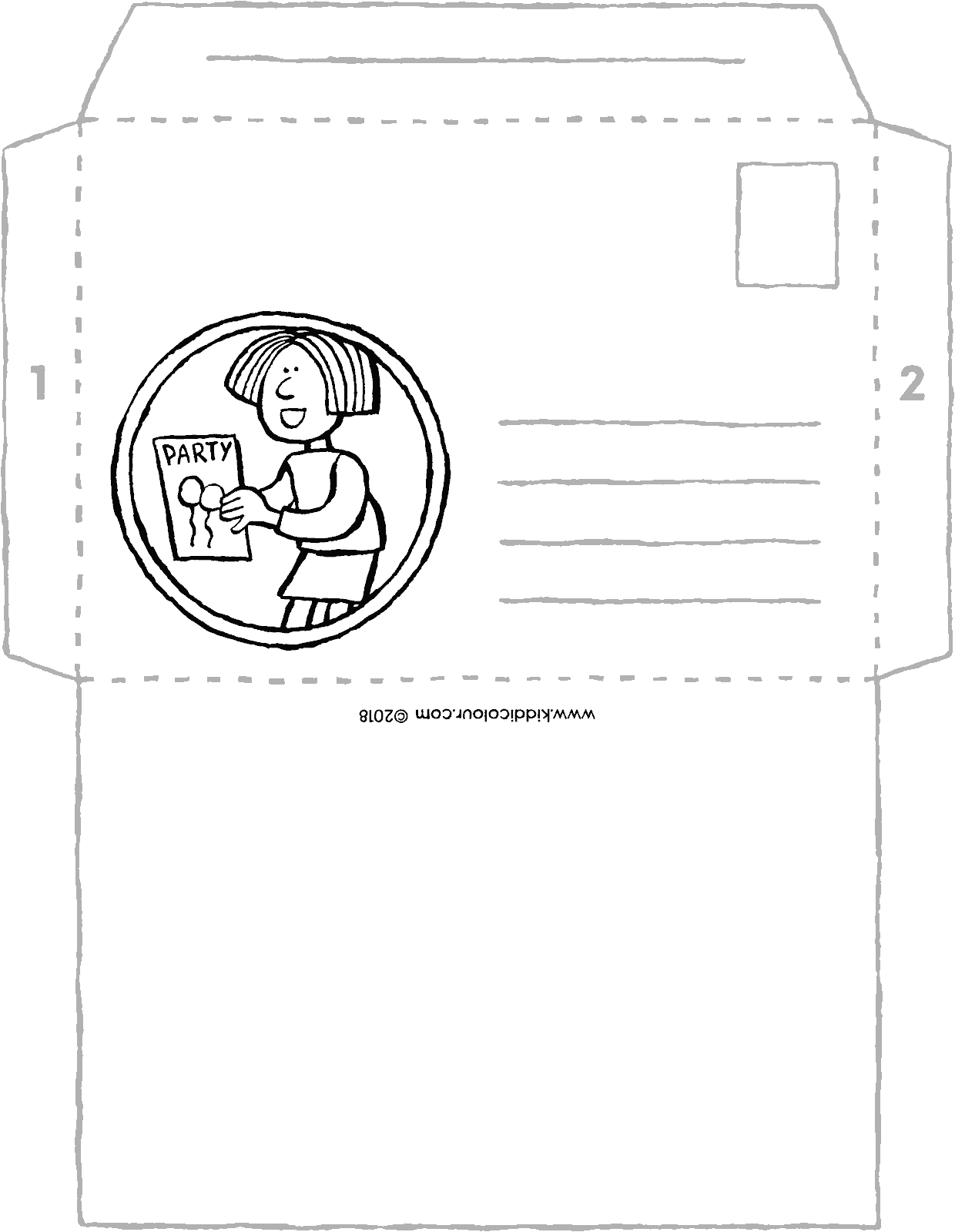 envelope for an invitation colouring page drawing picture 01V