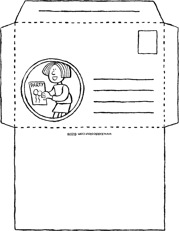 envelope for an invitation colouring page drawing picture 01k