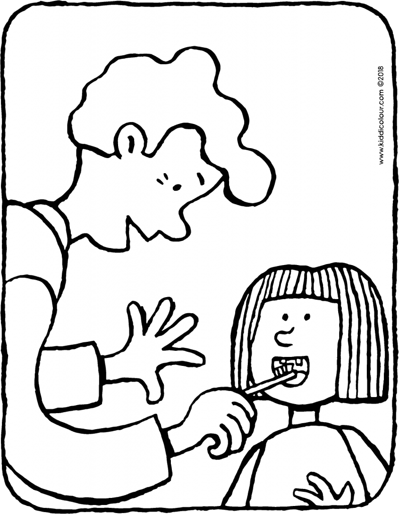father helps child to clean their teeth colouring page drawing picture 01V