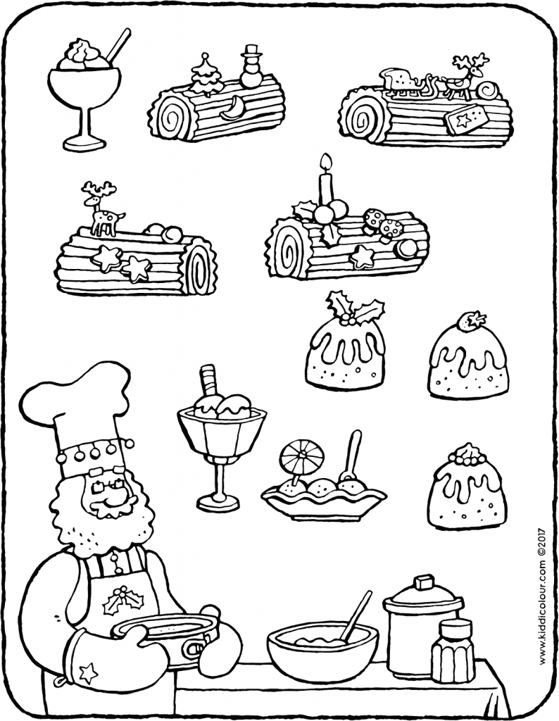 group the Christmas desserts colouring page drawing picture 01V