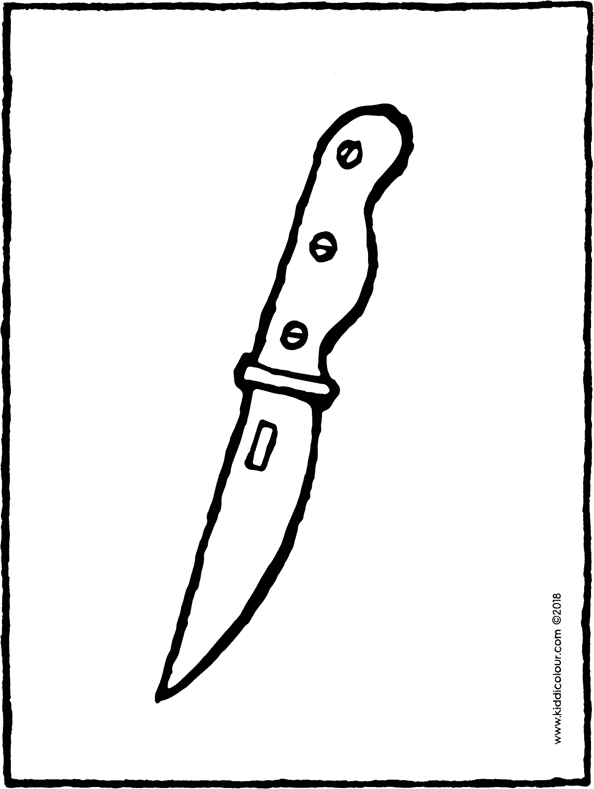 kitchen knife colouring page drawing picture 01H