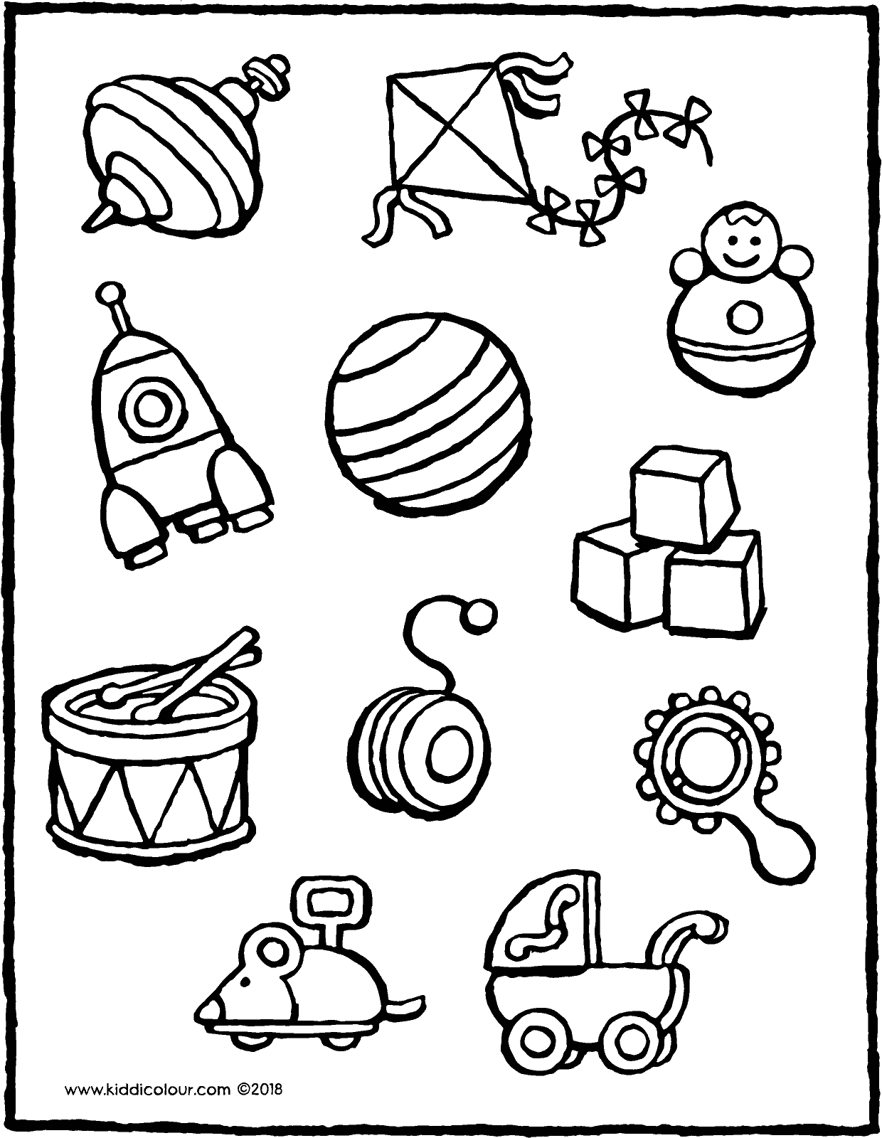lots of toys colouring page drawing picture 01V