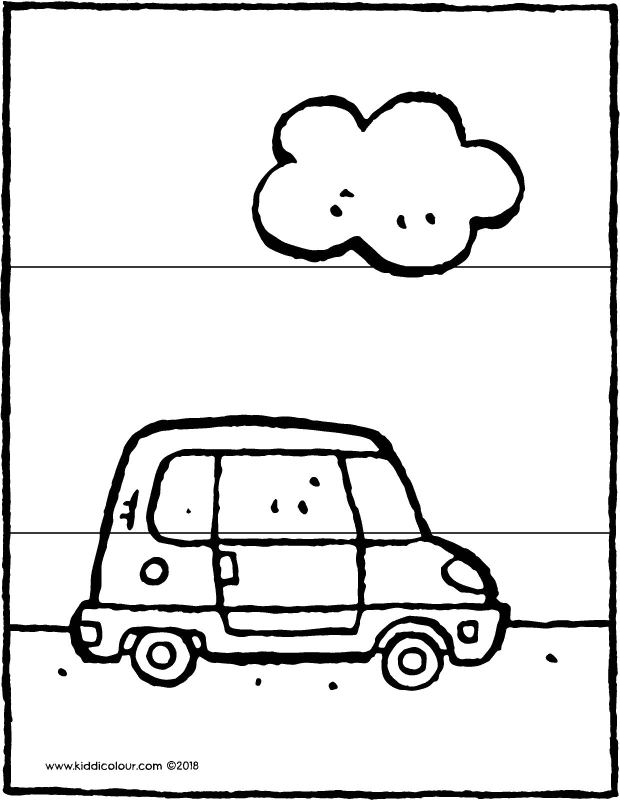 small car with cloud 3-piece puzzle colouring page drawing picture 01V