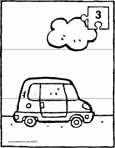 small car with cloud 3-piece puzzle