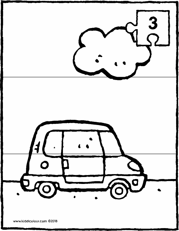 small car with cloud 3-piece puzzle colouring page drawing picture 01k