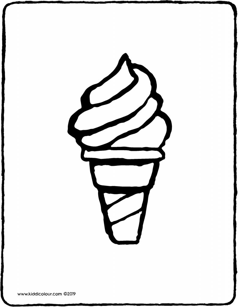 soft serve ice cream colouring page drawing picture 01V