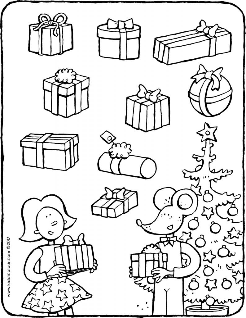 spot the identical presents colouring page drawing picture 01V