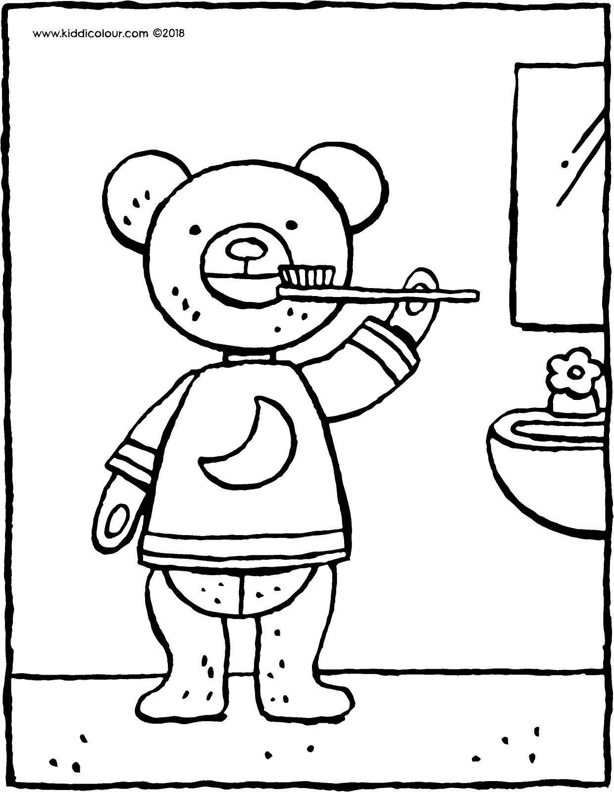 teddy bear brushes his teeth colouring page drawing picture 01V