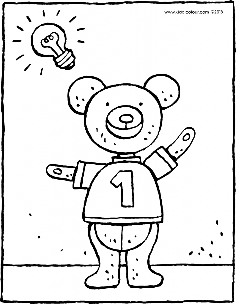 teddy bear has an idea colouring page drawing picture 01V