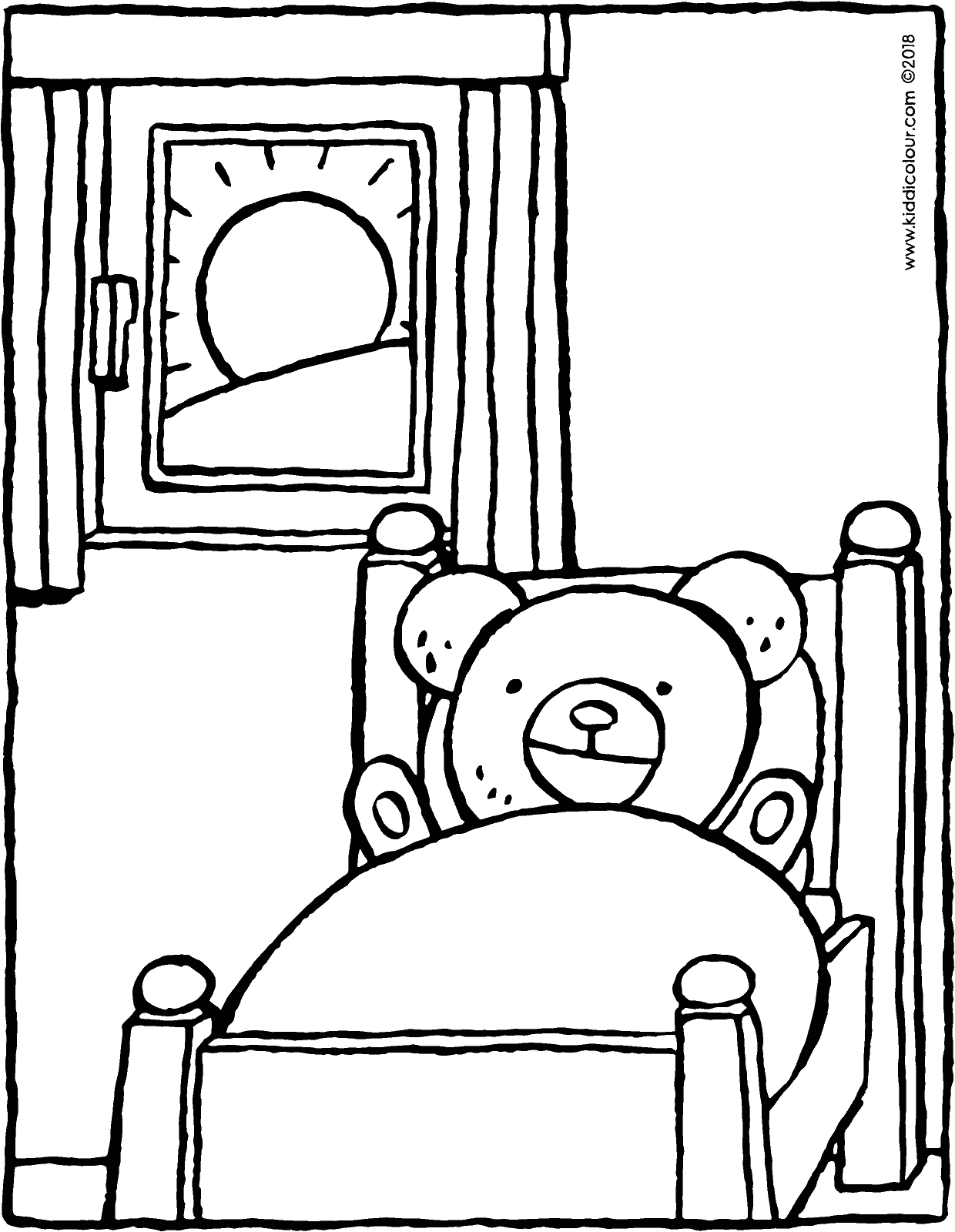 teddy bear wakes up in bed colouring page drawing picture 01V