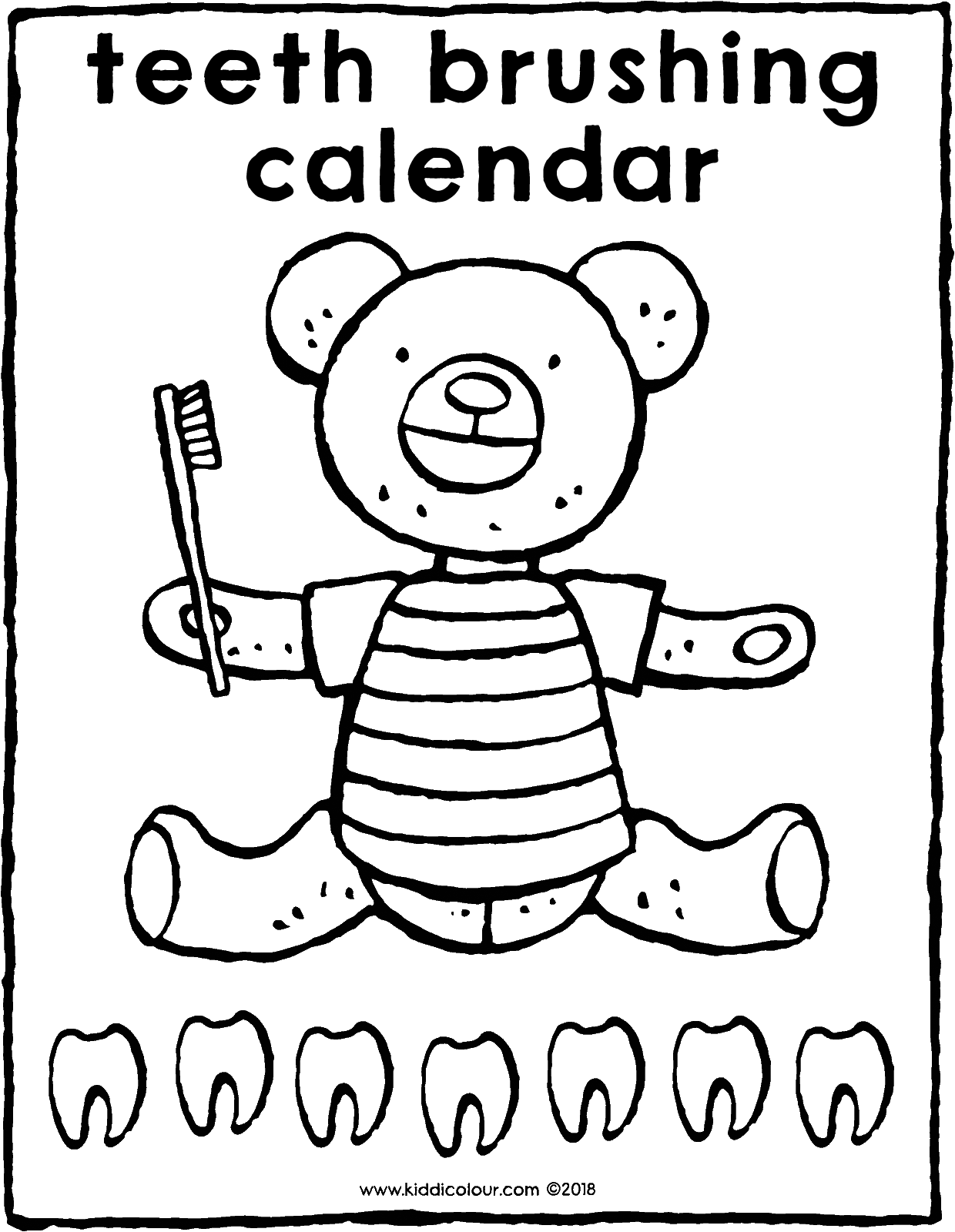 teeth brushing calendar colouring page drawing picture 01V