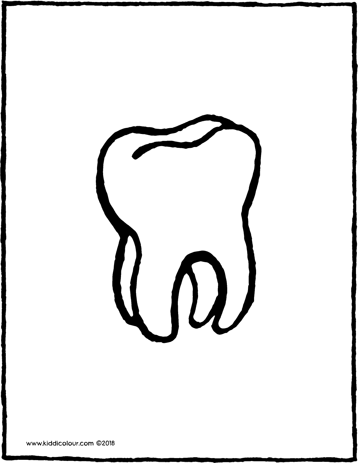 tooth colouring page drawing picture 01V