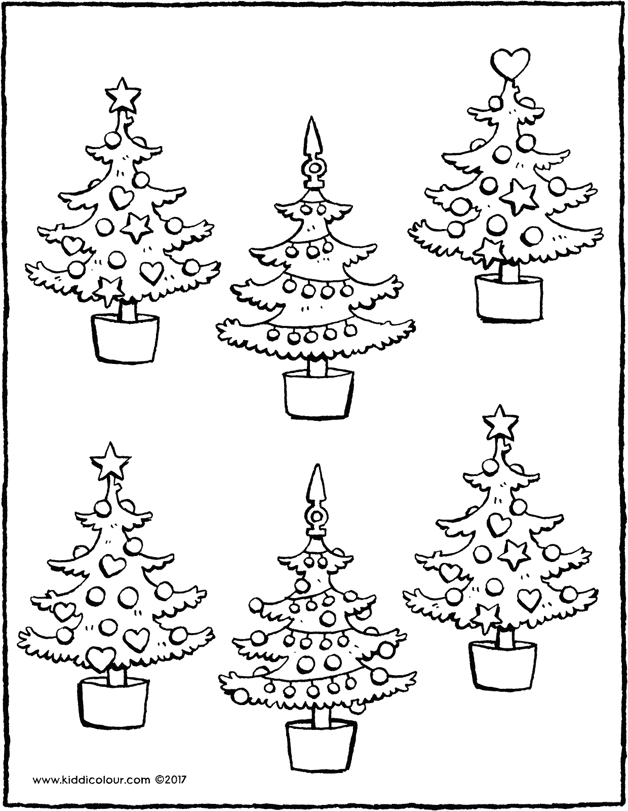 which two Christmas trees are the same colouring page drawing picture 01V