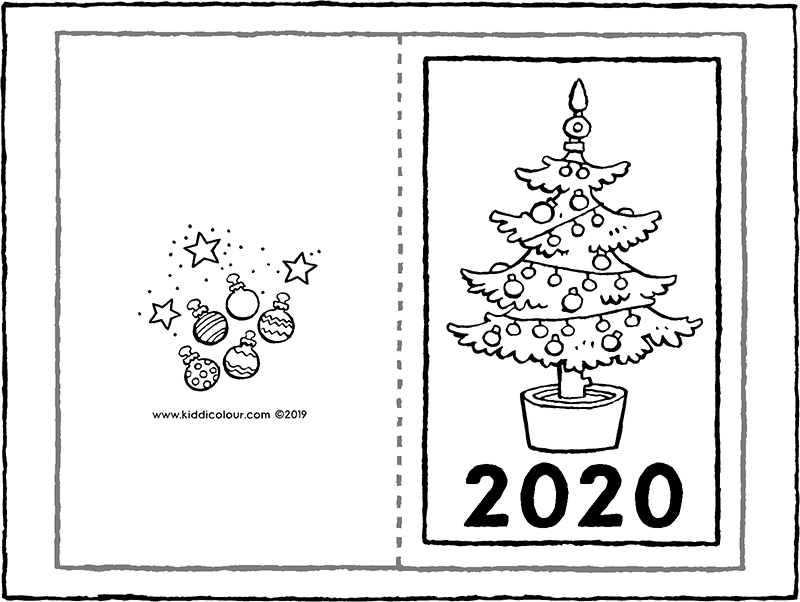 New Year's card 2020 colouring page drawing picture 01k
