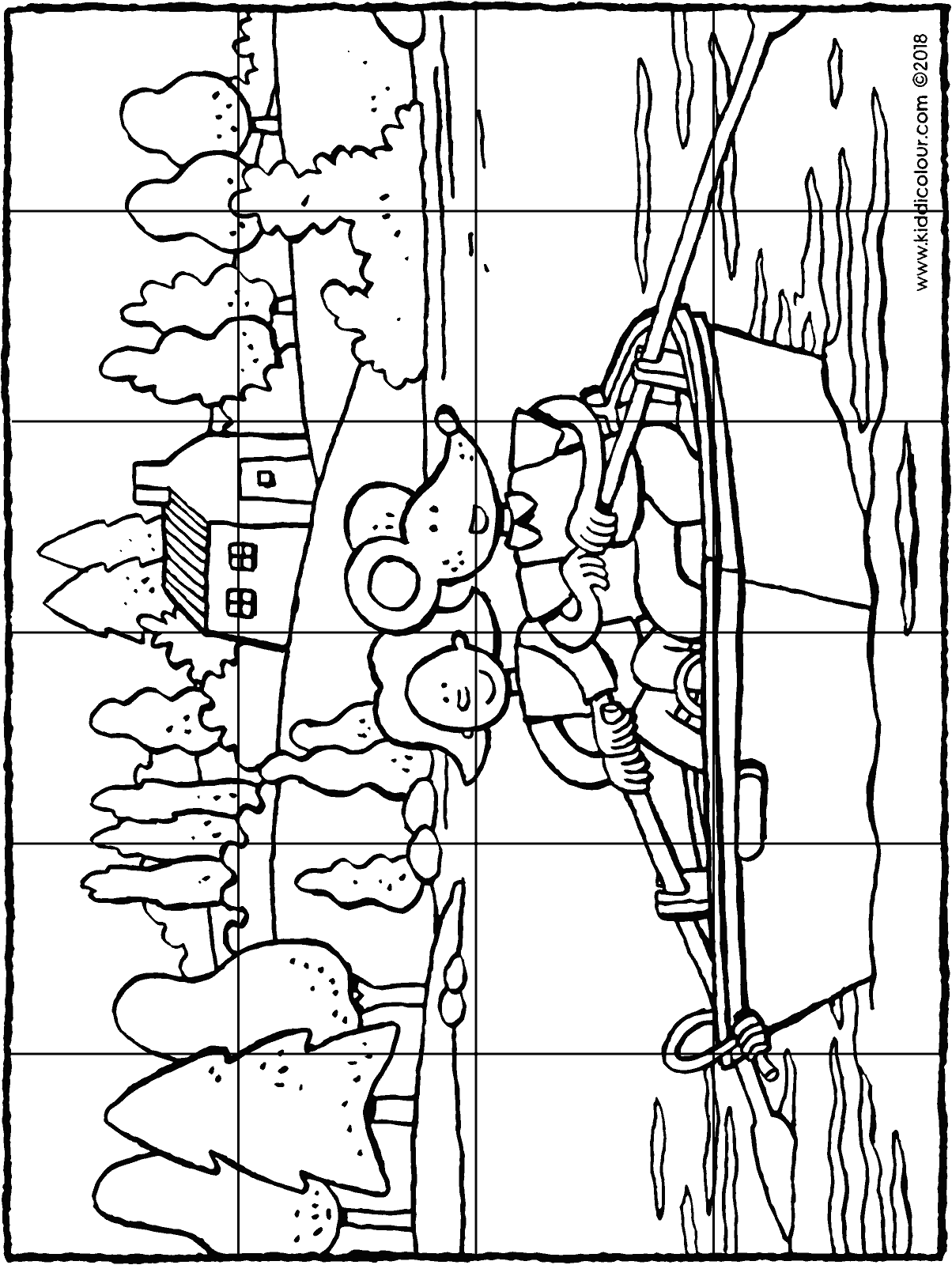 Emma and Thomas row in a rowing boat 24-piece puzzle colouring page drawing picture 01H