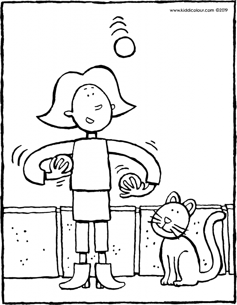 Emma juggles with three balls colouring page drawing picture 01V