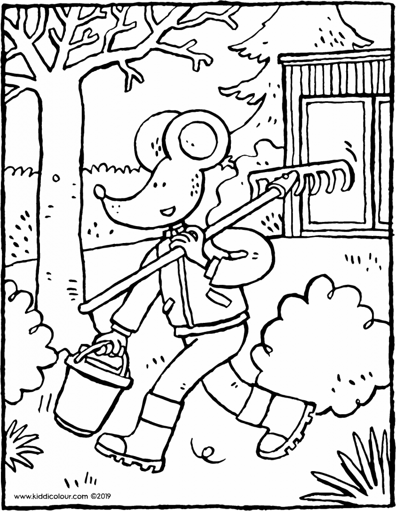 Thomas smells spring and goes to work in the garden colouring page drawing picture 01v