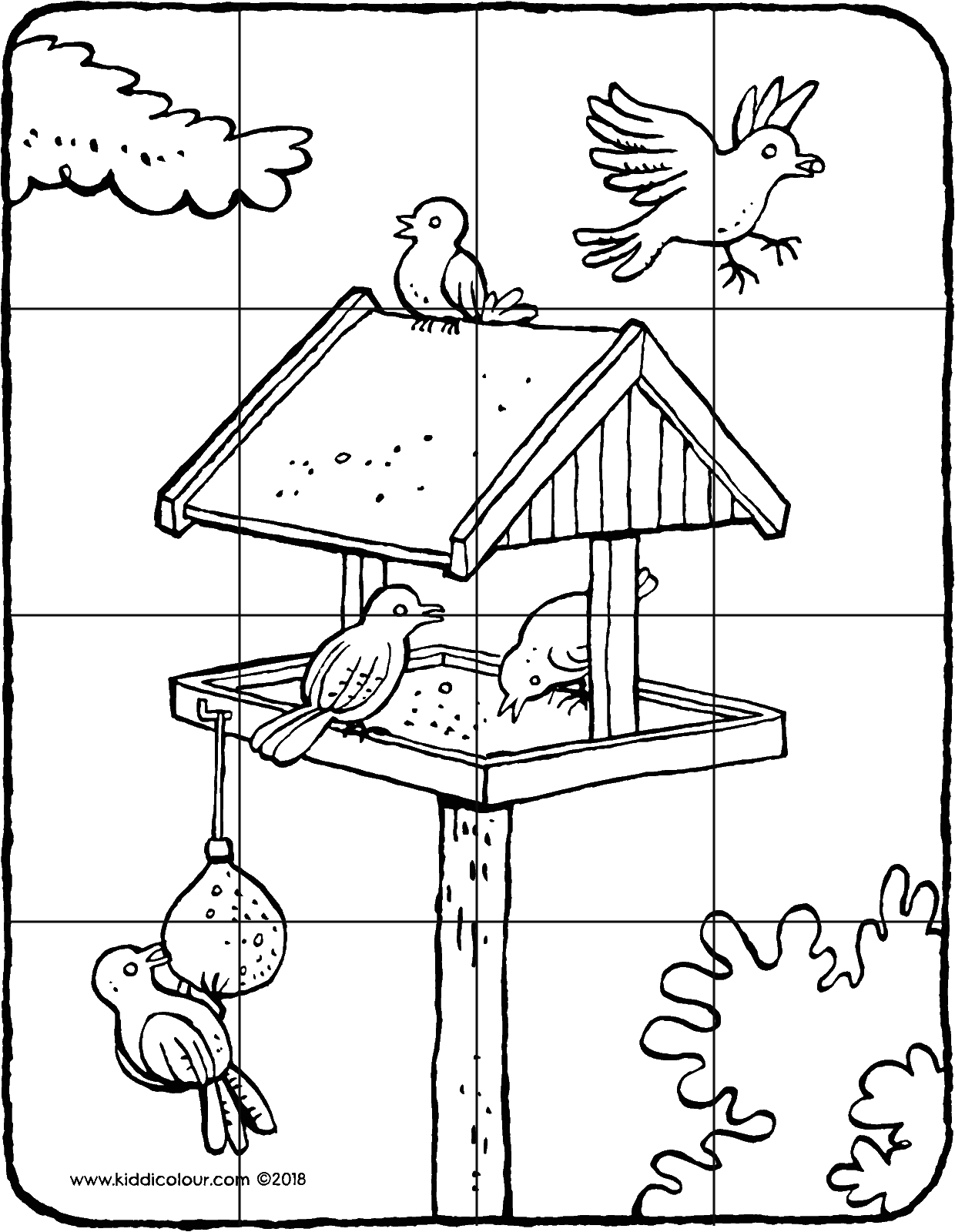 a bird table with birds 16-piece puzzle colouring page drawing picture 01V