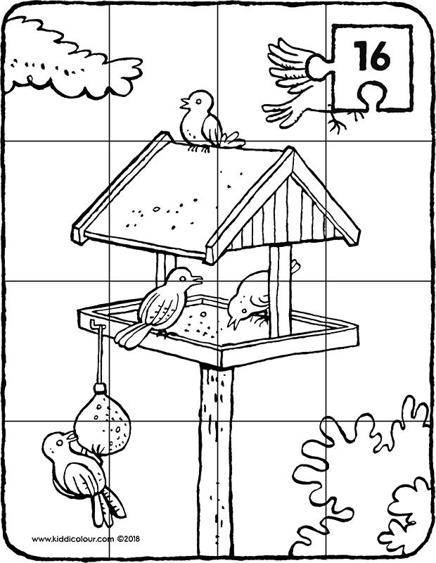 a bird table with birds 16-piece puzzle colouring page drawing picture 01k