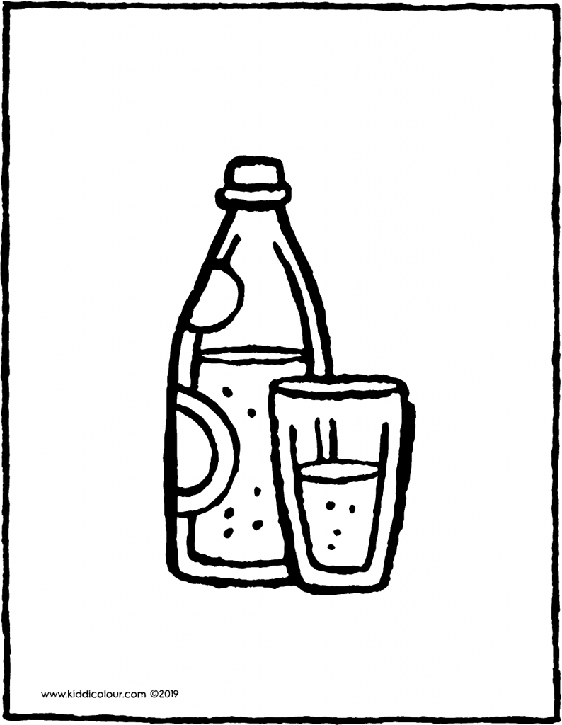 a bottle of sparkling water with a glass colouring page drawing picture 01V
