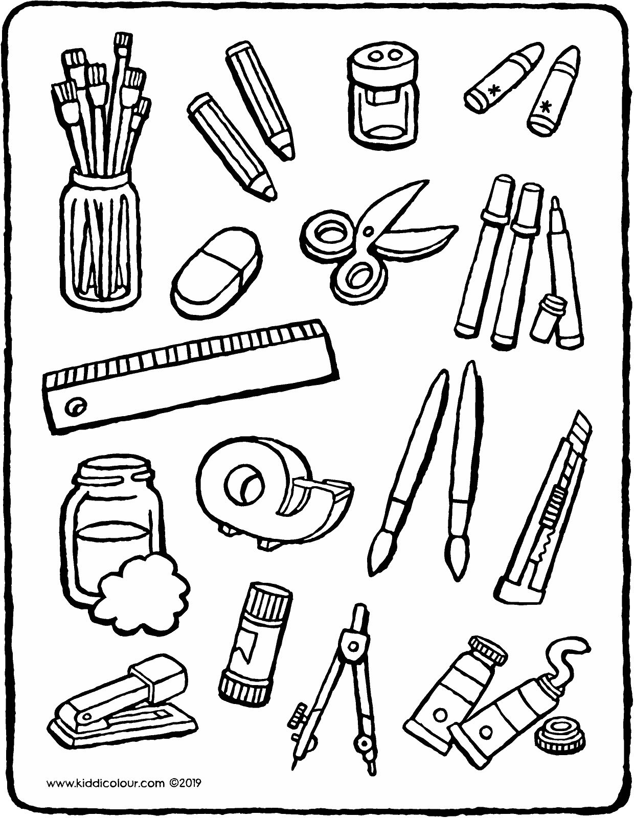 all sorts of craft equipment colouring page drawing picture 01V