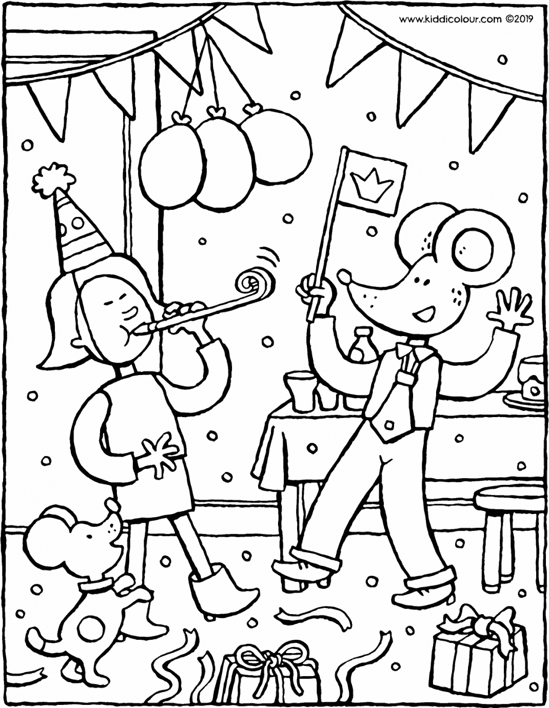 birthday party with Emma and Thomas colouring page drawing picture 01V