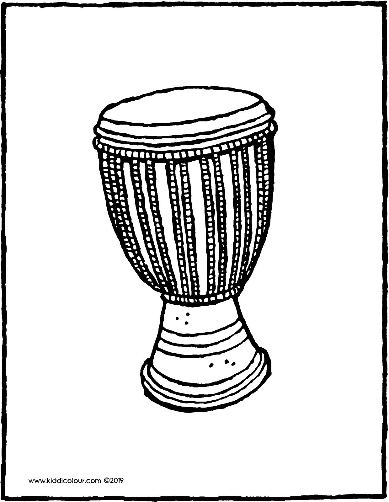 djembe or African drum colouring page drawing picture 01V