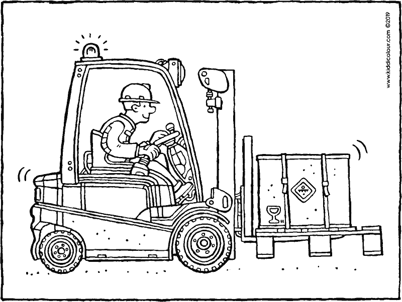forklift truck colouring page drawing picture 01k
