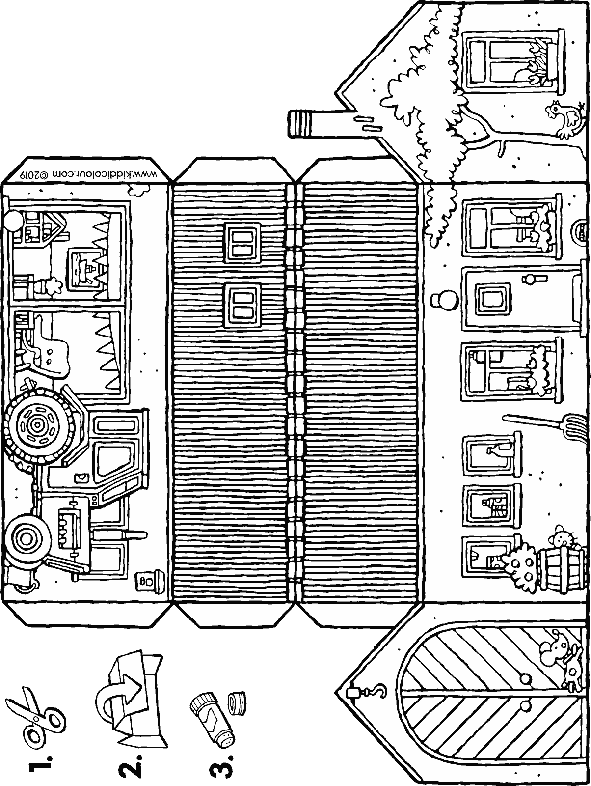make a small farm colouring page drawing picture 01H