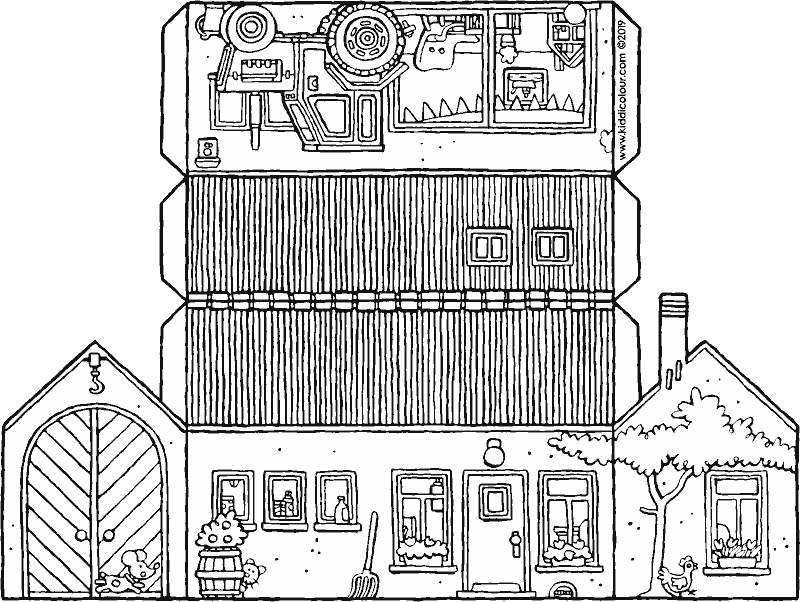 make a small farm colouring page drawing picture 01k