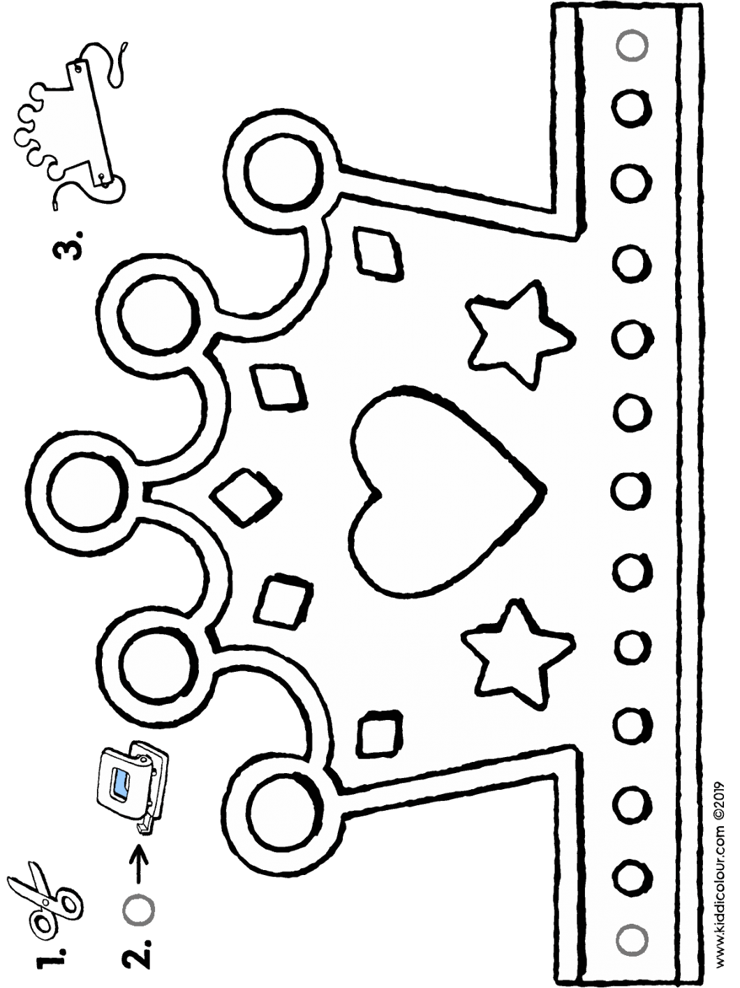 make your own crown colouring page drawing picture 01H