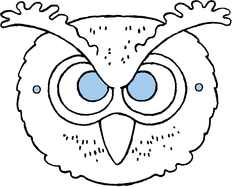 make your own owl mask colouring page drawing picture 01k