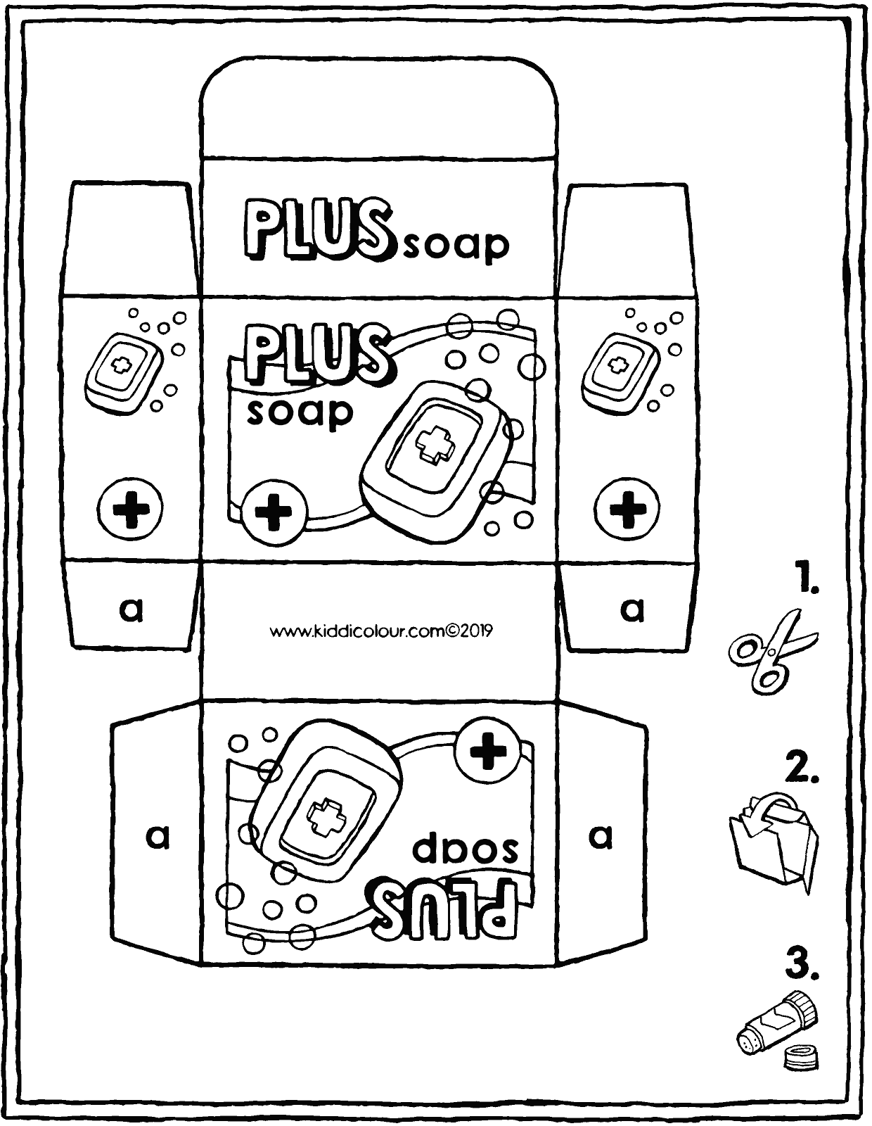 make your own soap packet colouring page drawing picture 01V