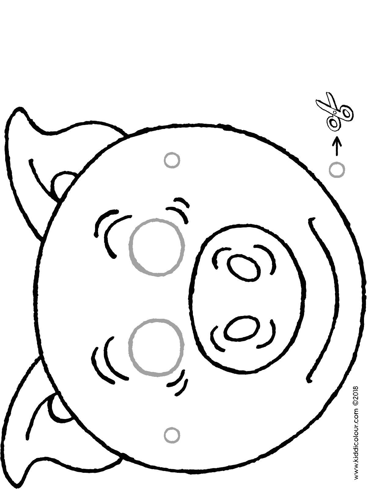 pig mask colouring page drawing picture 01H