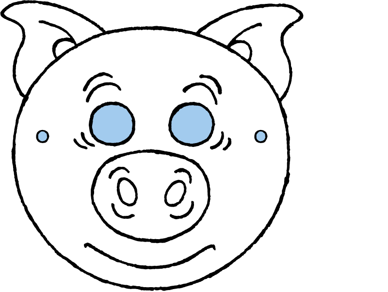 pig mask colouring page drawing picture 01k