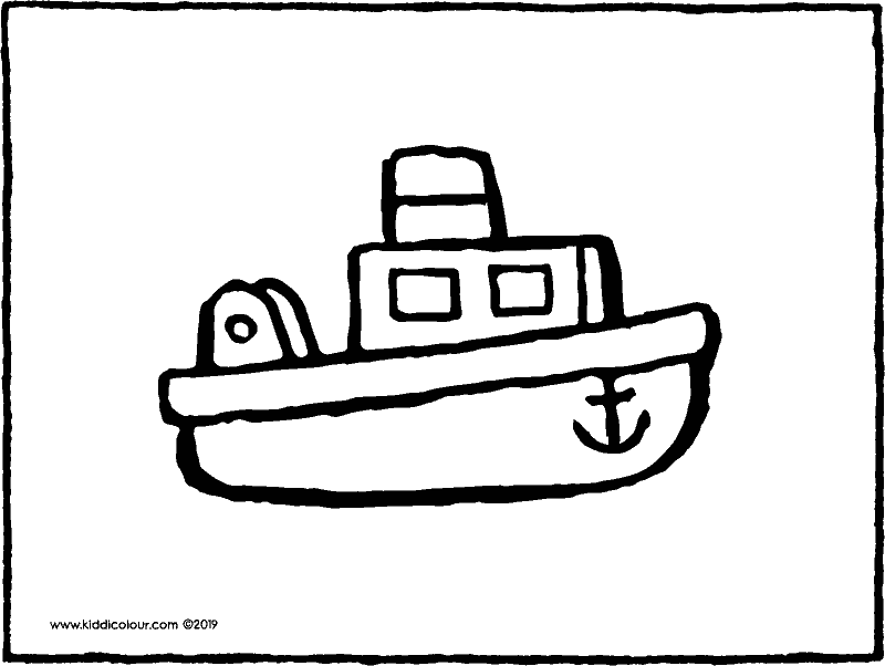 plastic boat colouring page drawing picture 01k